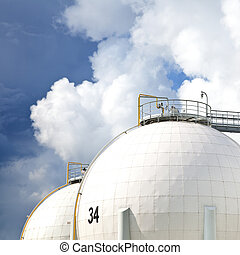 raffinerie, huile, réservoirs