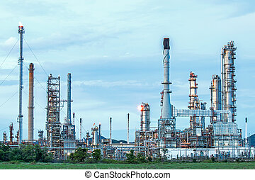 raffinerie, huile, twilight.