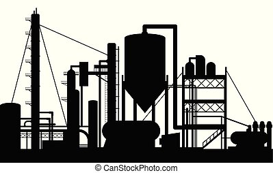 raffinerie, huile, usine, fabrication