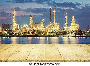 raffinerie, huile, usine