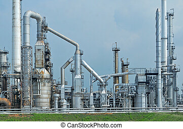 raffinerie, huile, usine, matin