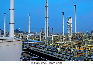 raffinerie, huile, usine, nuit