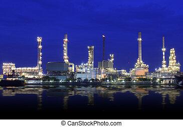 raffinerie, huile, usine, paysage, rivière