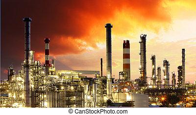 raffinerie, -, industrie, huile, essence