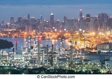 raffinerie, industrie, huile