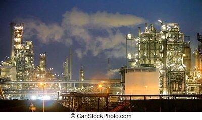 raffinerie, industrie, huile, nuit