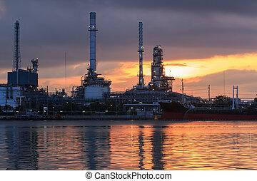 raffinerie, industrie, huile, plante