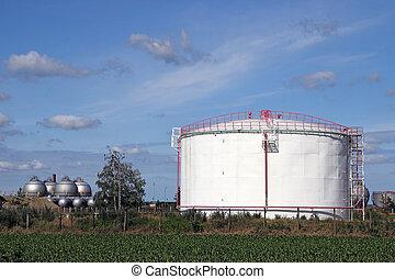 raffinerie, industrie, huile, réservoirs, zone