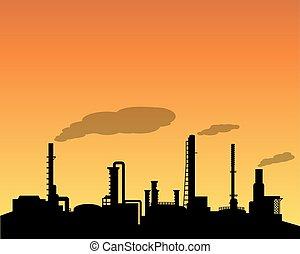 raffinerie, industrie, huile, silhouette, journée