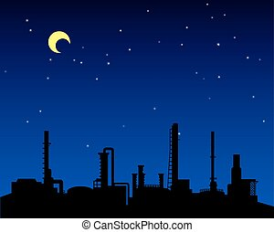 raffinerie, industrie, huile, silhouette, nuit