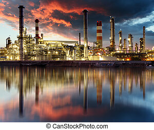 raffinerie, industrie, huile, -, usine