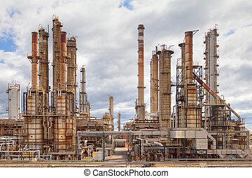 raffinerie, industrie, pétrochimique, huile