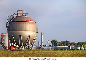 raffinerie, industrie, réservoir pétrole, zone