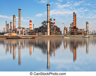 raffinerie, industrie, -, usine, huile