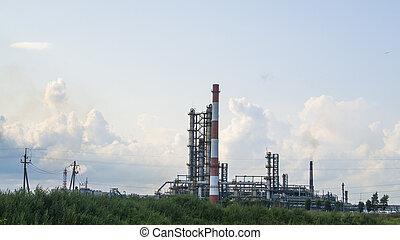 raffinerie, industriel, huile, paysage