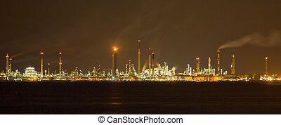 raffinerie, nightscape, oel