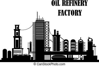 raffinerie, oel, fabrik