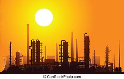 raffinerie, oel, illustration., vektor, sunset.