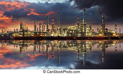 raffinerie pétrole, à, crépuscule