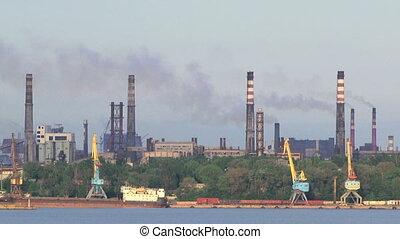raffinerie pétrole, engendré, rivière, plante, pollution, air
