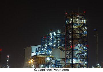 raffinerie pétrole, usine industrielle, soir