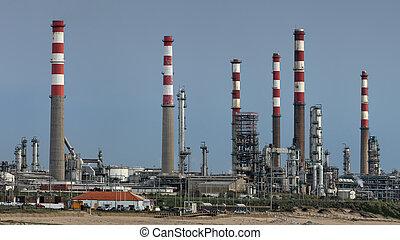 raffinerie, panorama, huile