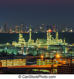 raffinerie, panorama, huile, usine, vue