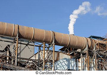 raffinerie, plante, fumée