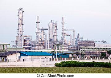 raffinerie, plante, huile