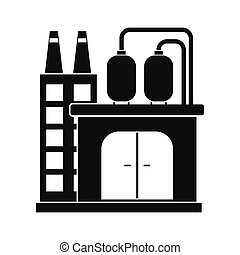 raffinerie, plante, huile, chimique, ou, icône
