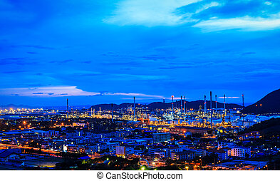 raffinerie, plante, huile, crépuscule, nuit