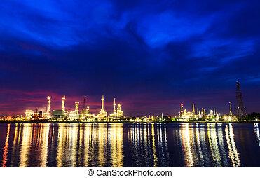 raffinerie, plante, huile, crépuscule, matin