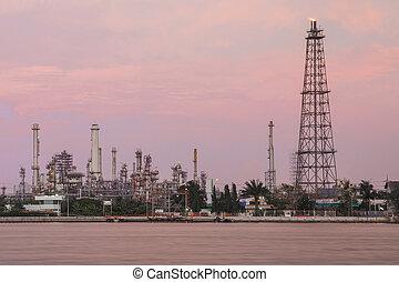 raffinerie, plante, huile, crépuscule
