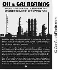 raffinerie, plante, huile, essence, silhouette., chimique, ou