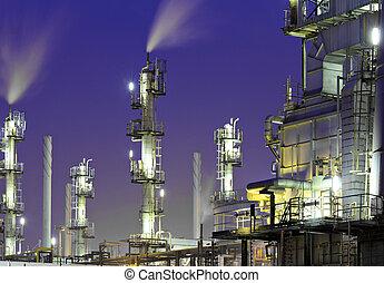 raffinerie, plante, huile, nuit