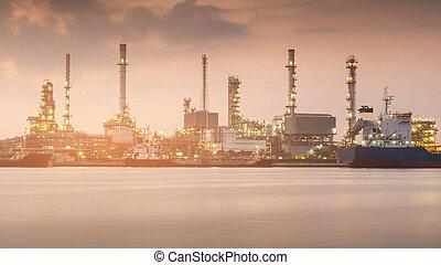 raffinerie, plante, huile, puissance