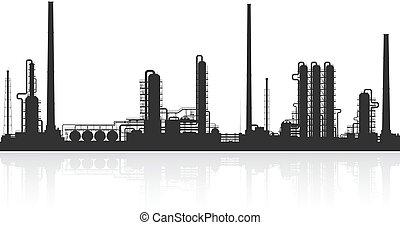 raffinerie, plante, huile, silhouette., chimique, ou