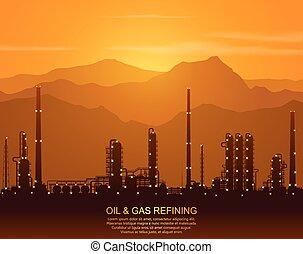 raffinerie, plante, huile, silhouette, chimique, ou