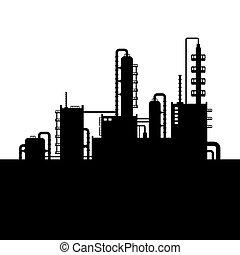 raffinerie, plante, huile, silhouette, usine, chimique, vecteur, 2.