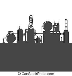 raffinerie, plante, huile, vecteur, silhouette.