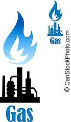 raffinerie, plante, industriel, flamme, icône