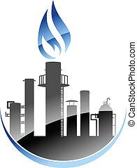 raffinerie, plante, industriel, ou, huile