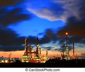 raffinerie, plante, pétrochimique, crépuscule, huile
