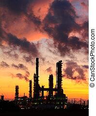 raffinerie, plante, pétrochimique, huile