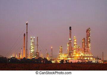 raffinerie, plante, pétrochimique, huile, nuit