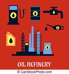 raffinerie, plat, huile, industriel, icônes