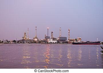 raffinerie, secteur, plante