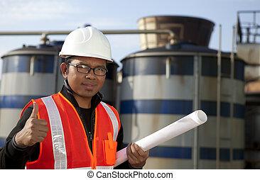 raffinerie, stockage, réservoir pétrole, ingénieur