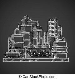 raffinerie, style, huile, contour, usine