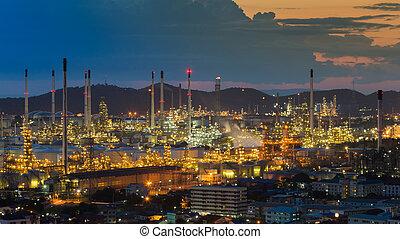 raffinerie, vue, huile, aérien, nuit
